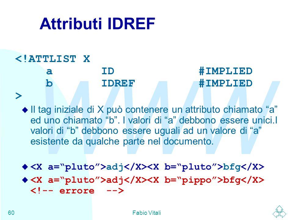 WWW Fabio Vitali60 Attributi IDREF u Il tag iniziale di X può contenere un attributo chiamato a ed uno chiamato b .