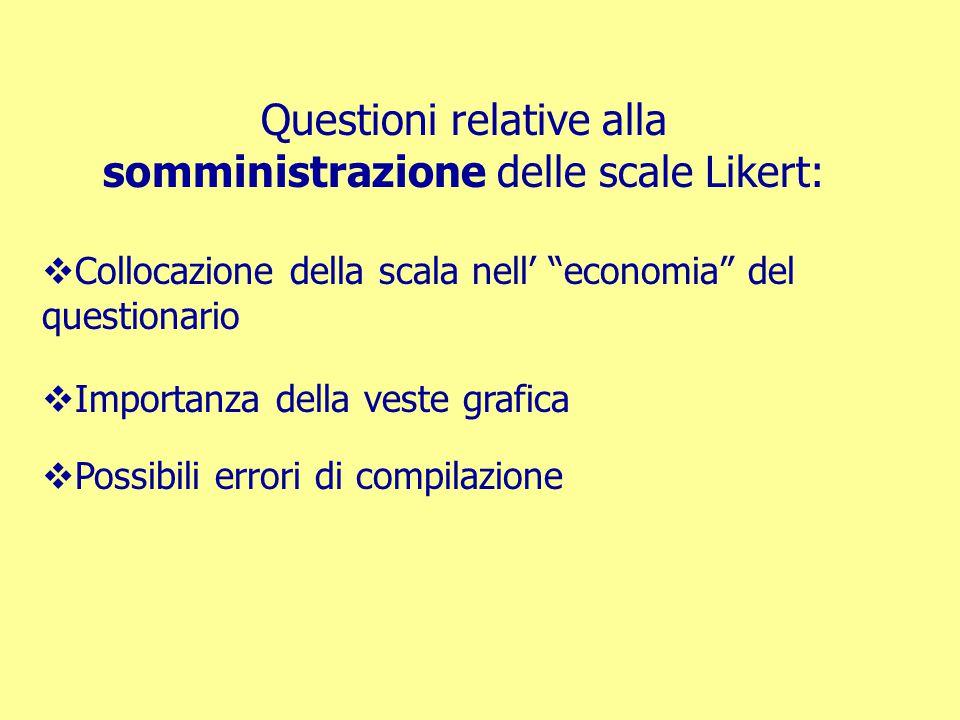 """Questioni relative alla somministrazione delle scale Likert:  Collocazione della scala nell' """"economia"""" del questionario  Importanza della veste gra"""