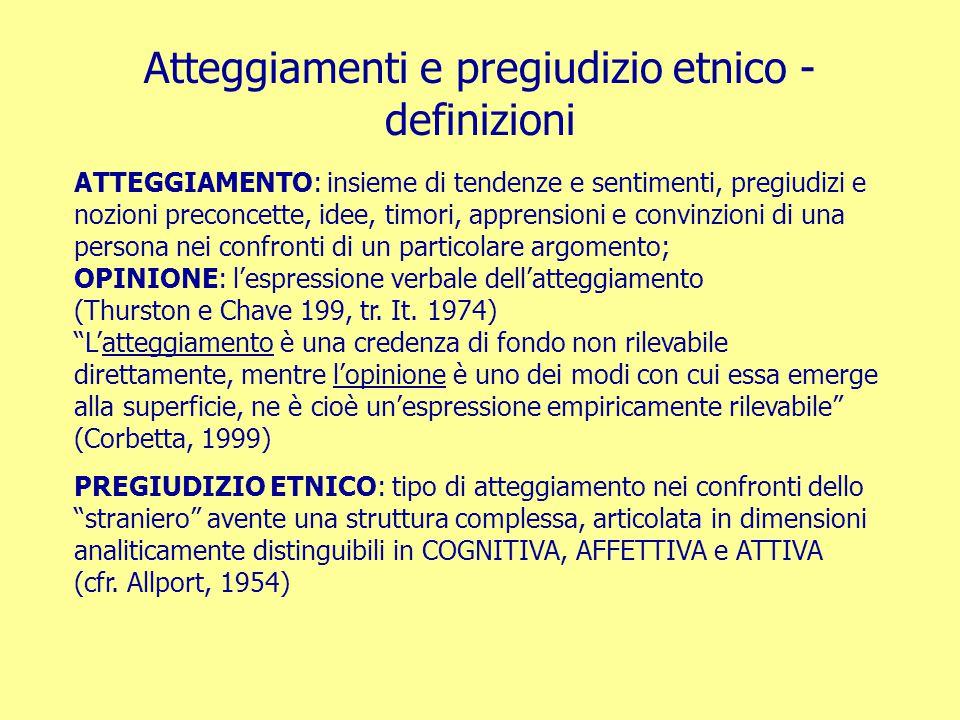 Atteggiamenti e pregiudizio etnico - definizioni ATTEGGIAMENTO: insieme di tendenze e sentimenti, pregiudizi e nozioni preconcette, idee, timori, appr