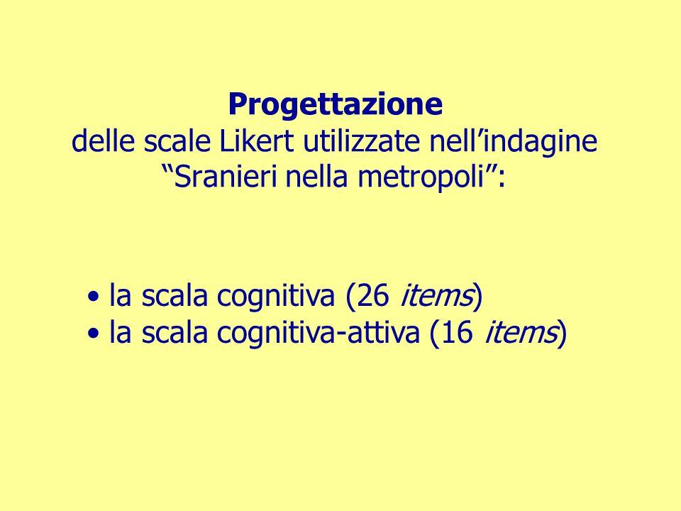 """Progettazione delle scale Likert utilizzate nell'indagine """"Sranieri nella metropoli"""": la scala cognitiva (26 items) la scala cognitiva-attiva (16 item"""