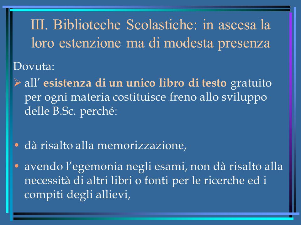 III. Biblioteche Scolastiche: in ascesa la loro estenzione ma di modesta presenza Dovuta:  all' esistenza di un unico libro di testo gratuito per ogn