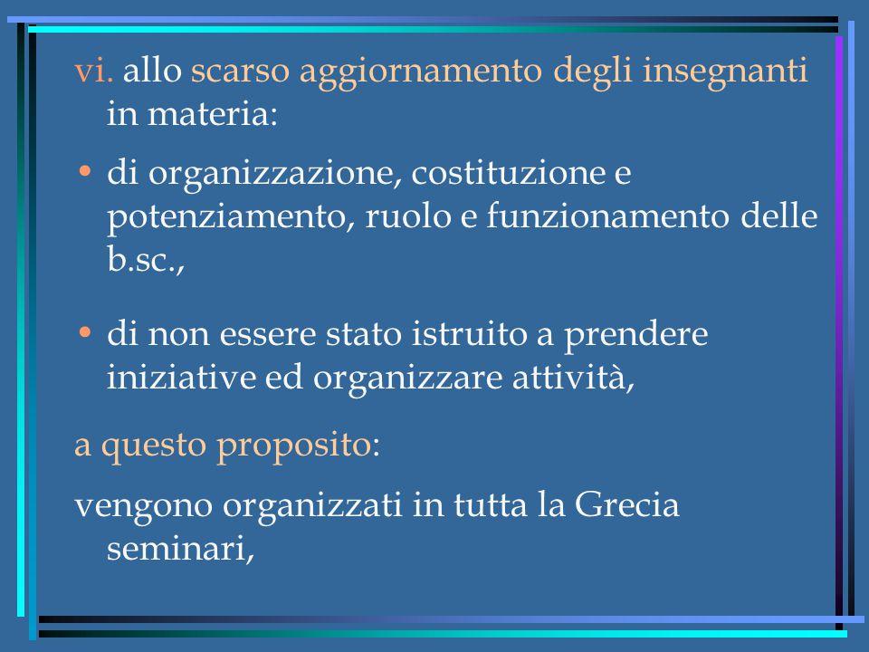 vi. allo scarso aggiornamento degli insegnanti in materia: di organizzazione, costituzione e potenziamento, ruolo e funzionamento delle b.sc., di non