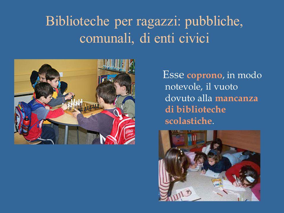 Biblioteche per ragazzi: pubbliche, comunali, di enti civici Esse coprono, in modo notevole, il vuoto dovuto alla mancanza di biblioteche scolastiche.