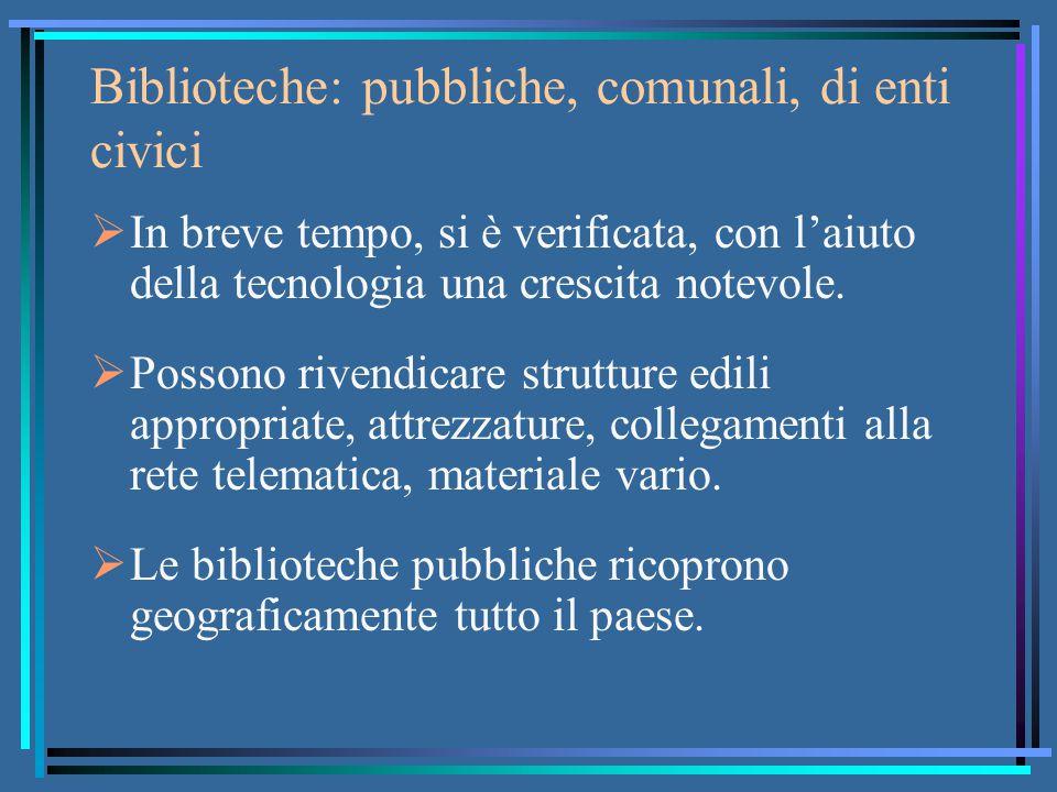 Biblioteche: pubbliche, comunali, di enti civici  In breve tempo, si è verificata, con l'aiuto della tecnologia una crescita notevole.