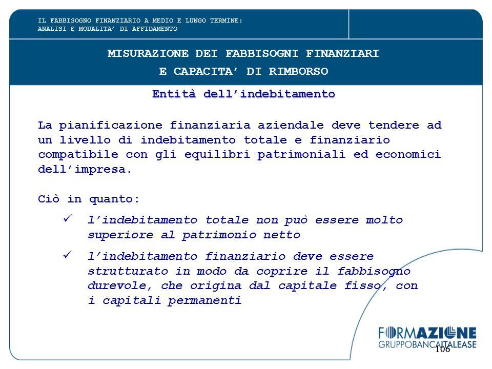 106 MISURAZIONE DEI FABBISOGNI FINANZIARI E CAPACITA' DI RIMBORSO Entità dell'indebitamento La pianificazione finanziaria aziendale deve tendere ad un