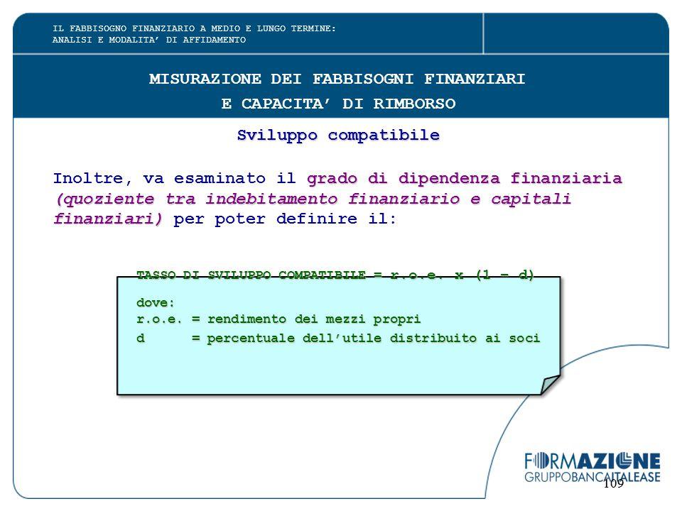 109 MISURAZIONE DEI FABBISOGNI FINANZIARI E CAPACITA' DI RIMBORSO Sviluppo compatibile grado di dipendenza finanziaria Inoltre, va esaminato il grado