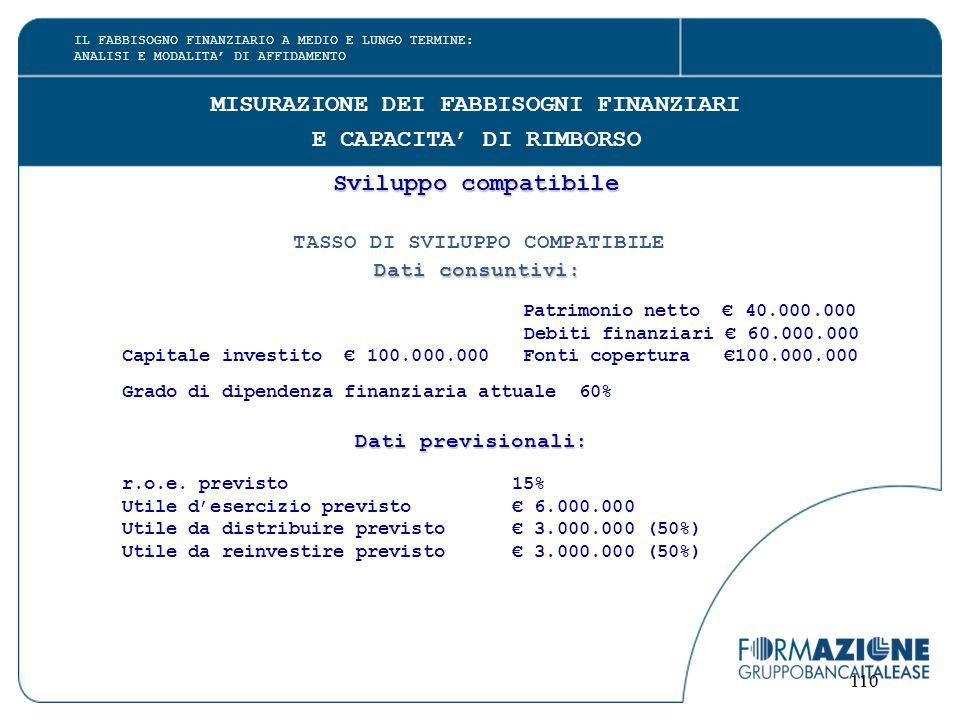 110 MISURAZIONE DEI FABBISOGNI FINANZIARI E CAPACITA' DI RIMBORSO Sviluppo compatibile TASSO DI SVILUPPO COMPATIBILE Dati consuntivi: Patrimonio netto € 40.000.000 Debiti finanziari € 60.000.000 Capitale investito € 100.000.000 Fonti copertura €100.000.000 Grado di dipendenza finanziaria attuale 60% Dati previsionali: r.o.e.