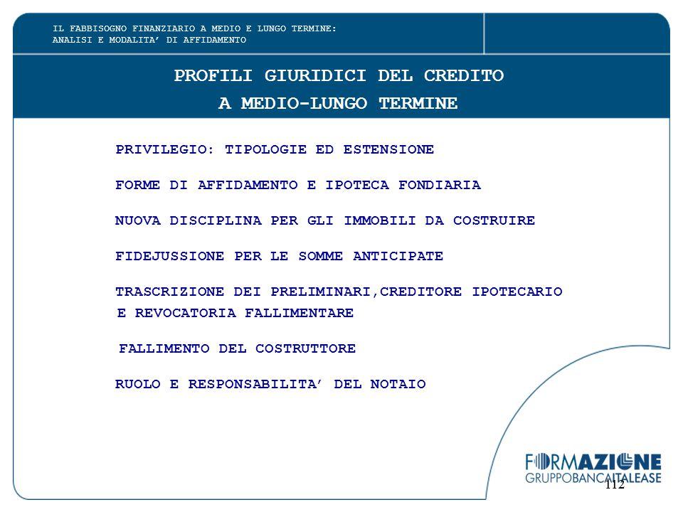 112 PROFILI GIURIDICI DEL CREDITO A MEDIO-LUNGO TERMINE PRIVILEGIO: TIPOLOGIE ED ESTENSIONE FORME DI AFFIDAMENTO E IPOTECA FONDIARIA NUOVA DISCIPLINA PER GLI IMMOBILI DA COSTRUIRE FIDEJUSSIONE PER LE SOMME ANTICIPATE TRASCRIZIONE DEI PRELIMINARI,CREDITORE IPOTECARIO E REVOCATORIA FALLIMENTARE FALLIMENTO DEL COSTRUTTORE RUOLO E RESPONSABILITA' DEL NOTAIO IL FABBISOGNO FINANZIARIO A MEDIO E LUNGO TERMINE: ANALISI E MODALITA' DI AFFIDAMENTO