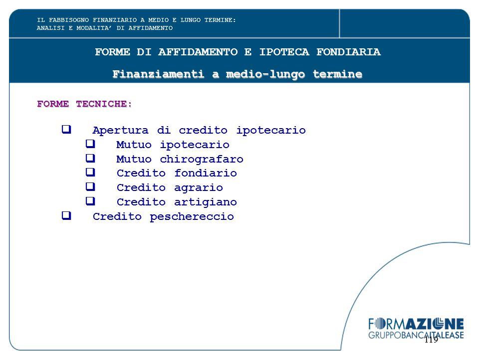 119 FORME DI AFFIDAMENTO E IPOTECA FONDIARIA Finanziamenti a medio-lungo termine FORME TECNICHE:  Apertura di credito ipotecario  Mutuo ipotecario 
