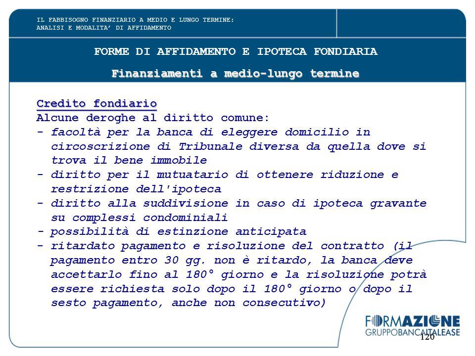 120 FORME DI AFFIDAMENTO E IPOTECA FONDIARIA Finanziamenti a medio-lungo termine Credito fondiario Alcune deroghe al diritto comune: - facoltà per la