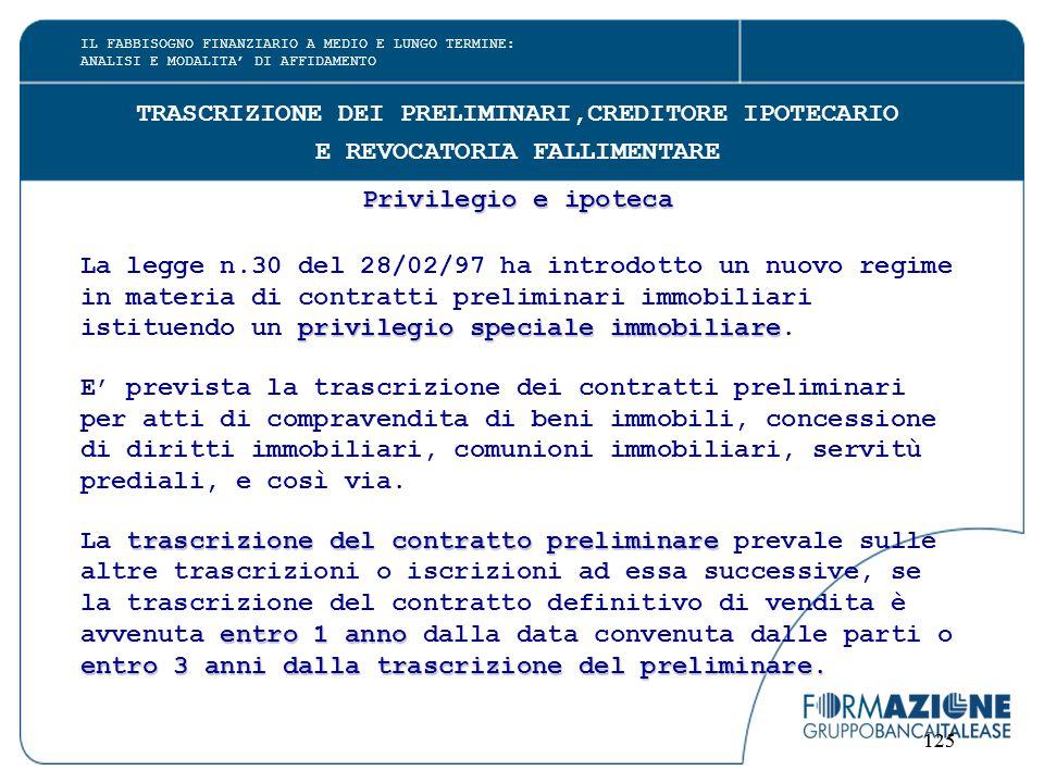 125 TRASCRIZIONE DEI PRELIMINARI,CREDITORE IPOTECARIO E REVOCATORIA FALLIMENTARE Privilegio e ipoteca La legge n.30 del 28/02/97 ha introdotto un nuov