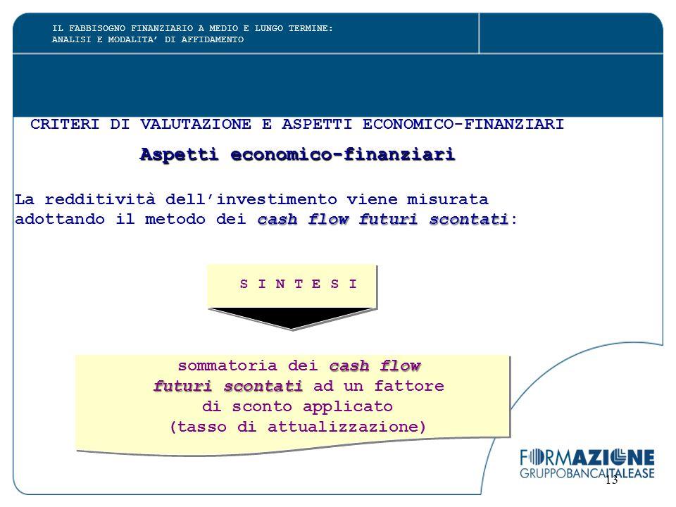 13 CRITERI DI VALUTAZIONE E ASPETTI ECONOMICO-FINANZIARI Aspetti economico-finanziari La redditività dell'investimento viene misurata cash flow futuri