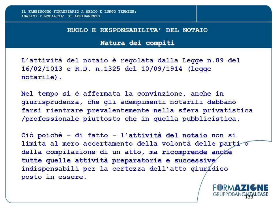 133 RUOLO E RESPONSABILITA' DEL NOTAIO Natura dei compiti L'attività del notaio è regolata dalla Legge n.89 del 16/02/1013 e R.D.