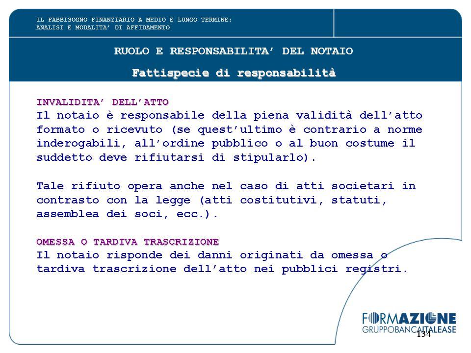 134 RUOLO E RESPONSABILITA' DEL NOTAIO Fattispecie di responsabilità INVALIDITA' DELL'ATTO Il notaio è responsabile della piena validità dell'atto for