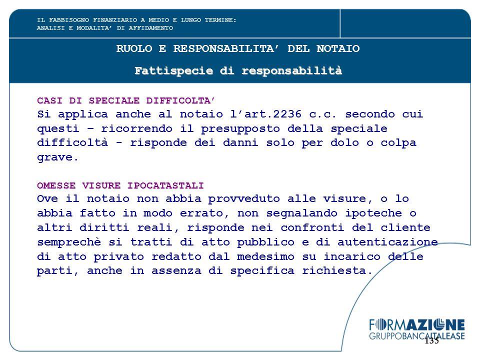 135 RUOLO E RESPONSABILITA' DEL NOTAIO Fattispecie di responsabilità CASI DI SPECIALE DIFFICOLTA' Si applica anche al notaio l'art.2236 c.c. secondo c