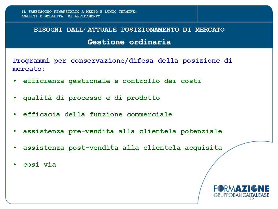 19 BISOGNI DALL'ATTUALE POSIZIONAMENTO DI MERCATO Gestione ordinaria Programmi per conservazione/difesa della posizione di mercato: efficienza gestion