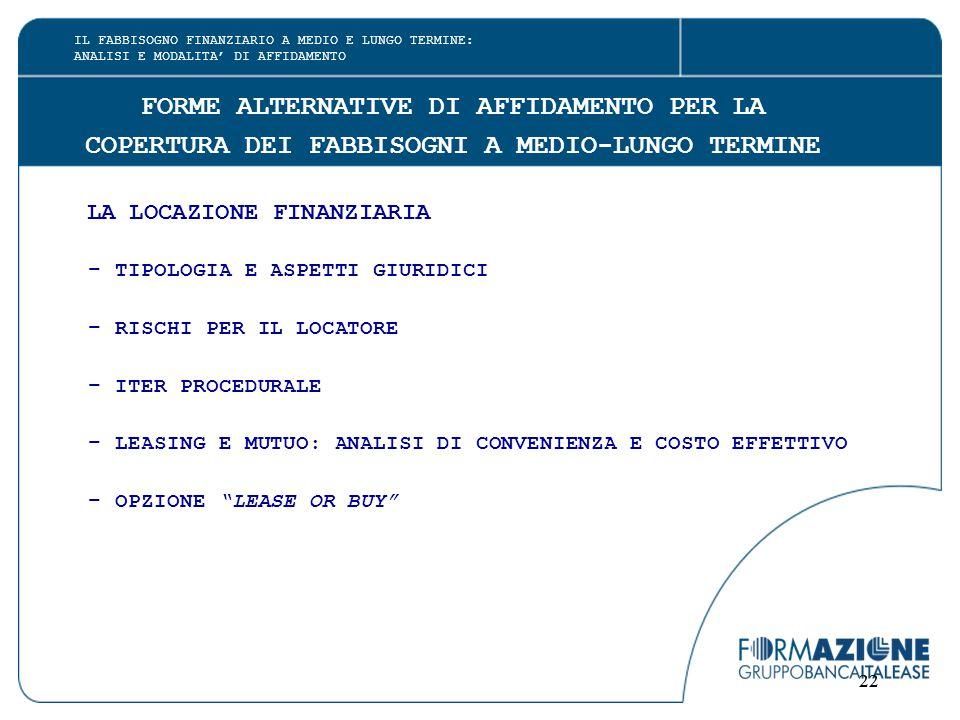 22 FORME ALTERNATIVE DI AFFIDAMENTO PER LA COPERTURA DEI FABBISOGNI A MEDIO-LUNGO TERMINE LA LOCAZIONE FINANZIARIA - TIPOLOGIA E ASPETTI GIURIDICI - RISCHI PER IL LOCATORE - ITER PROCEDURALE - LEASING E MUTUO: ANALISI DI CONVENIENZA E COSTO EFFETTIVO - OPZIONE LEASE OR BUY IL FABBISOGNO FINANZIARIO A MEDIO E LUNGO TERMINE: ANALISI E MODALITA' DI AFFIDAMENTO