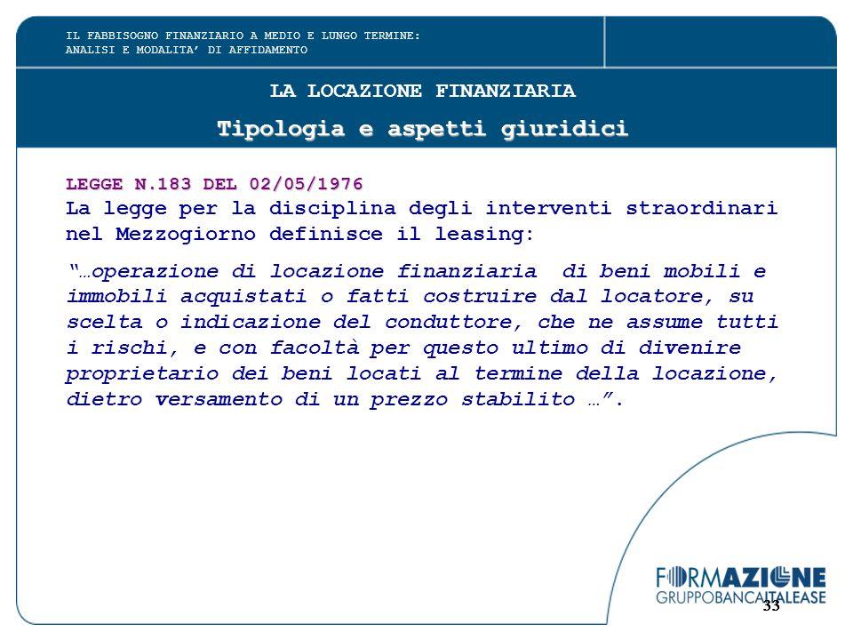 33 LA LOCAZIONE FINANZIARIA Tipologia e aspetti giuridici LEGGE N.183 DEL 02/05/1976 La legge per la disciplina degli interventi straordinari nel Mezz