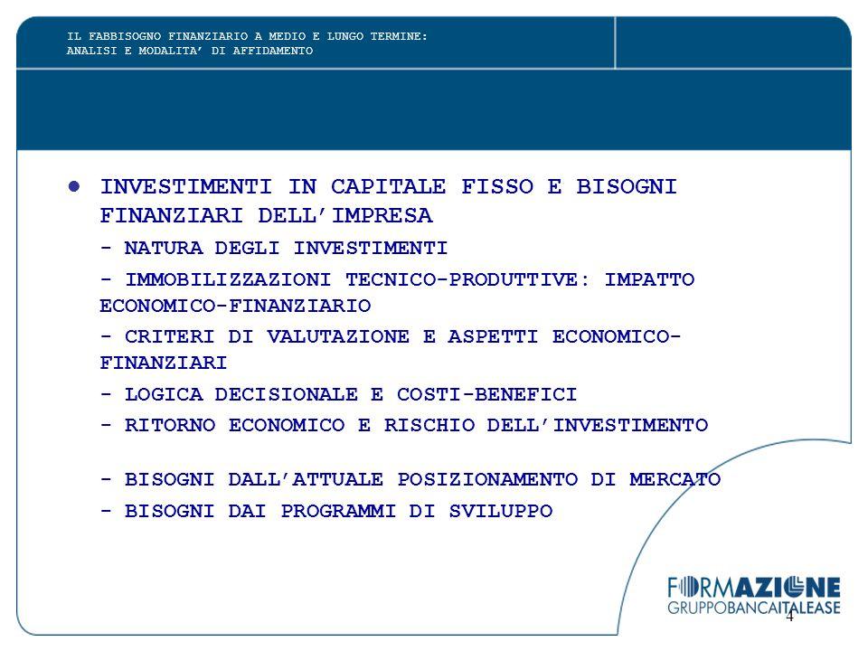 4 INVESTIMENTI IN CAPITALE FISSO E BISOGNI FINANZIARI DELL'IMPRESA - NATURA DEGLI INVESTIMENTI - IMMOBILIZZAZIONI TECNICO-PRODUTTIVE: IMPATTO ECONOMICO-FINANZIARIO - CRITERI DI VALUTAZIONE E ASPETTI ECONOMICO- FINANZIARI - LOGICA DECISIONALE E COSTI-BENEFICI - RITORNO ECONOMICO E RISCHIO DELL'INVESTIMENTO - BISOGNI DALL'ATTUALE POSIZIONAMENTO DI MERCATO - BISOGNI DAI PROGRAMMI DI SVILUPPO IL FABBISOGNO FINANZIARIO A MEDIO E LUNGO TERMINE: ANALISI E MODALITA' DI AFFIDAMENTO