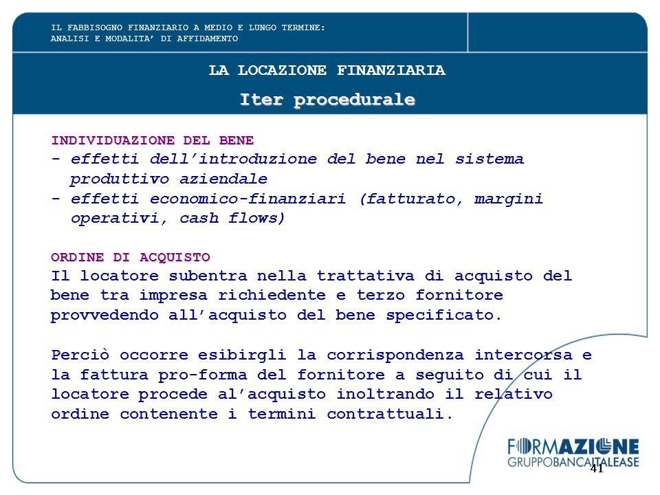 41 LA LOCAZIONE FINANZIARIA Iter procedurale INDIVIDUAZIONE DEL BENE - effetti dell'introduzione del bene nel sistema produttivo aziendale - effetti e