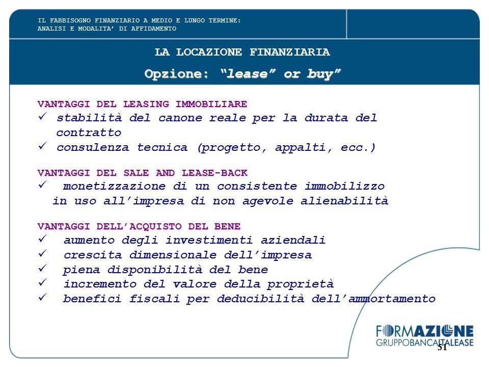 """51 LA LOCAZIONE FINANZIARIA Opzione: """"lease"""" or buy"""" VANTAGGI DEL LEASING IMMOBILIARE stabilità del canone reale per la durata del contratto consulenz"""