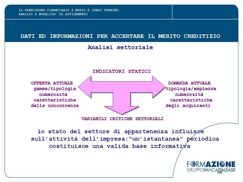 66 DATI ED INFORMAZIONI PER ACCERTARE IL MERITO CREDITIZIO Analisi settoriale INDICATORI STATICI OFFERTA ATTUALE DOMANDA ATTUALE gamma/tipologia tipol