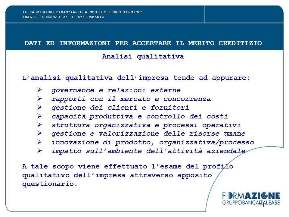 74 DATI ED INFORMAZIONI PER ACCERTARE IL MERITO CREDITIZIO Analisi qualitativa analisi qualitativa L'analisi qualitativa dell'impresa tende ad appurar