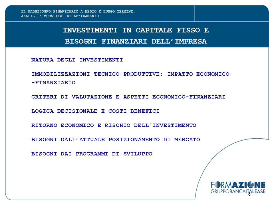 8 INVESTIMENTI IN CAPITALE FISSO E BISOGNI FINANZIARI DELL'IMPRESA NATURA DEGLI INVESTIMENTI IMMOBILIZZAZIONI TECNICO-PRODUTTIVE: IMPATTO ECONOMICO- -FINANZIARIO CRITERI DI VALUTAZIONE E ASPETTI ECONOMICO-FINANZIARI LOGICA DECISIONALE E COSTI-BENEFICI RITORNO ECONOMICO E RISCHIO DELL'INVESTIMENTO BISOGNI DALL'ATTUALE POSIZIONAMENTO DI MERCATO BISOGNI DAI PROGRAMMI DI SVILUPPO IL FABBISOGNO FINANZIARIO A MEDIO E LUNGO TERMINE: ANALISI E MODALITA' DI AFFIDAMENTO