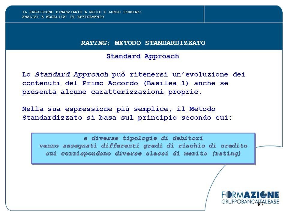 87 RATING: METODO STANDARDIZZATO Standard Approach Lo Standard Approach può ritenersi un'evoluzione dei contenuti del Primo Accordo (Basilea 1) anche se presenta alcune caratterizzazioni proprie.