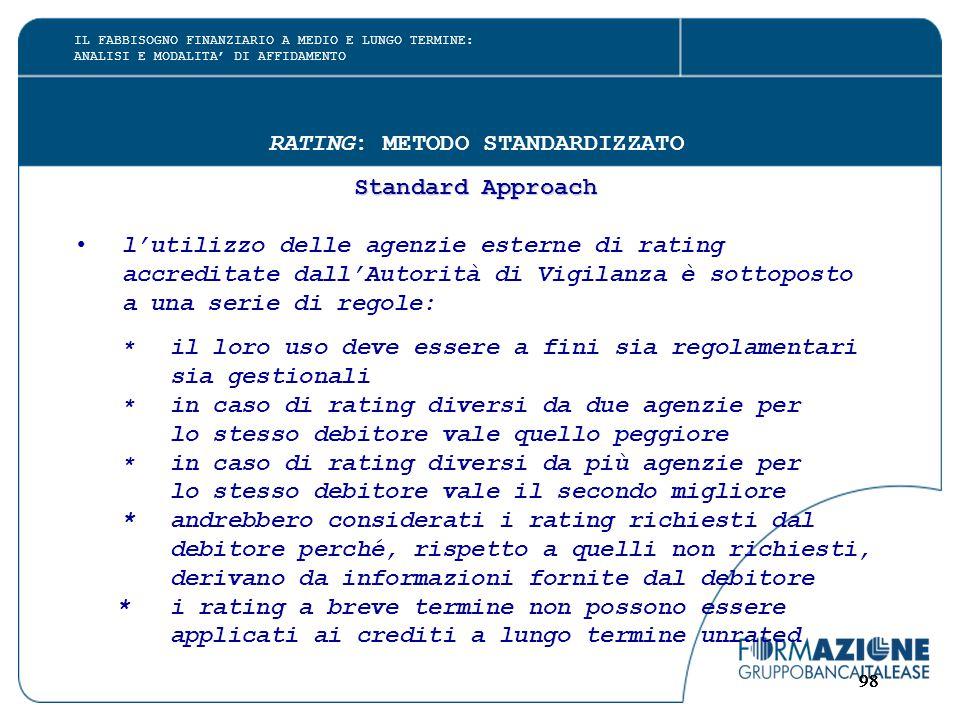 98 RATING: METODO STANDARDIZZATO Standard Approach l'utilizzo delle agenzie esterne di rating accreditate dall'Autorità di Vigilanza è sottoposto a un