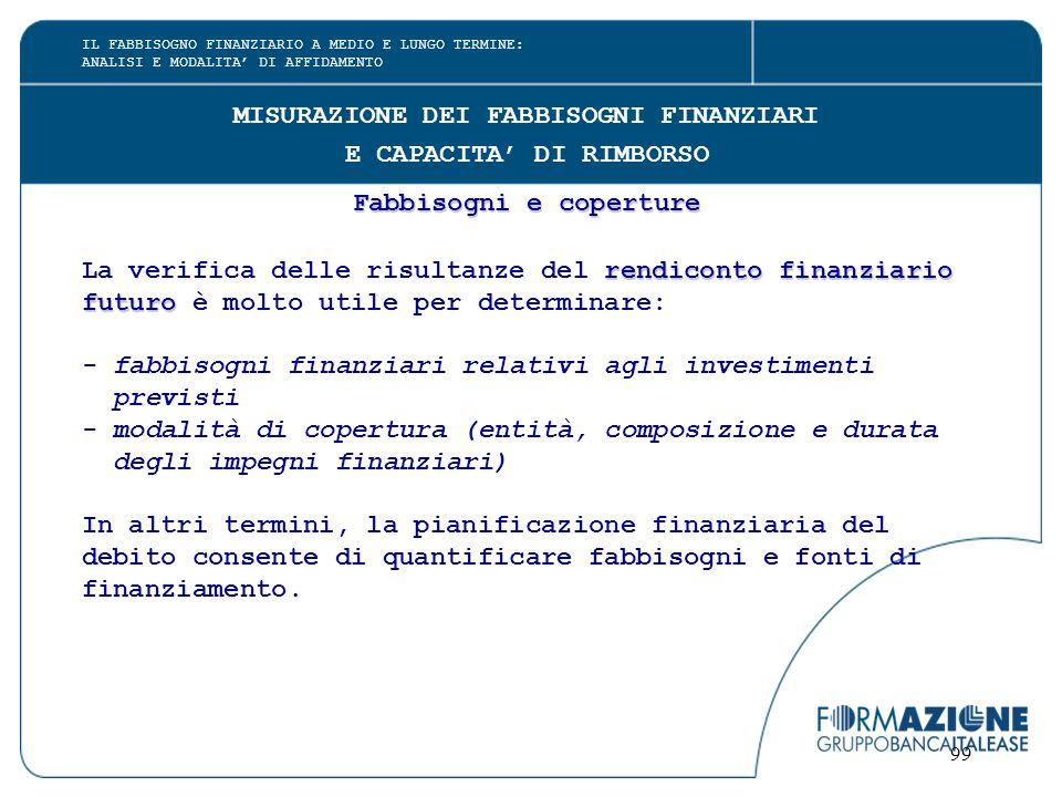 99 MISURAZIONE DEI FABBISOGNI FINANZIARI E CAPACITA' DI RIMBORSO Fabbisogni e coperture rendiconto finanziario La verifica delle risultanze del rendic