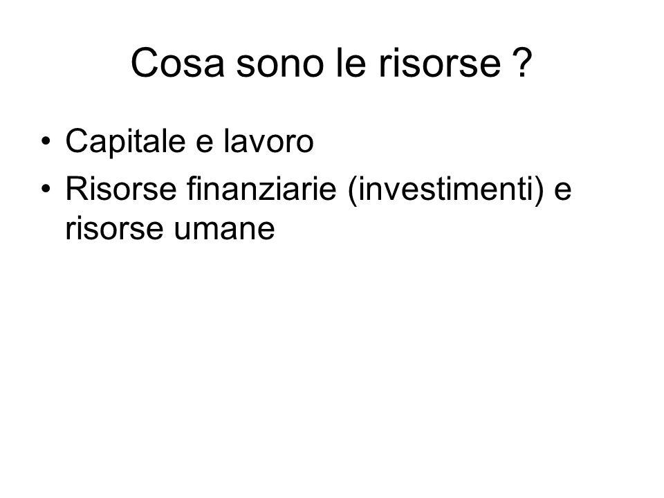 Cosa sono le risorse ? Capitale e lavoro Risorse finanziarie (investimenti) e risorse umane
