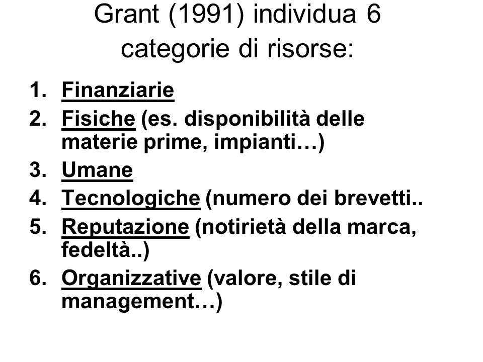 Grant (1991) individua 6 categorie di risorse: 1.Finanziarie 2.Fisiche (es. disponibilità delle materie prime, impianti…) 3.Umane 4.Tecnologiche (nume