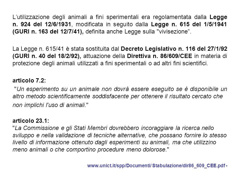 L'utilizzazione degli animali a fini sperimentali era regolamentata dalla Legge n. 924 del 12/6/1931, modificata in seguito dalla Legge n. 615 del 1/5