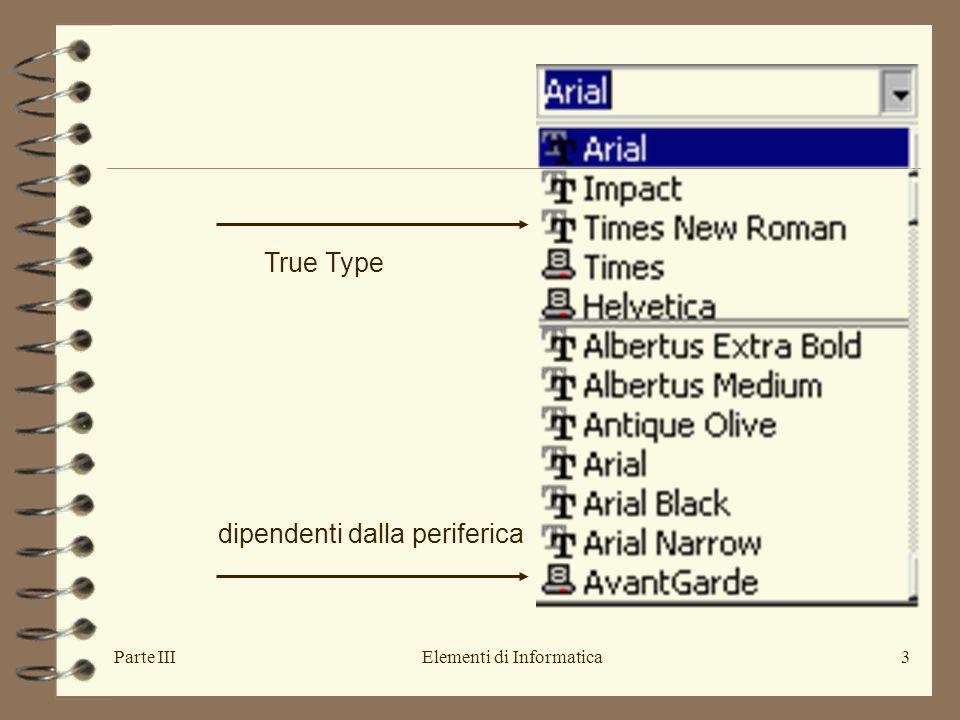 Parte IIIElementi di Informatica3 True Type dipendenti dalla periferica