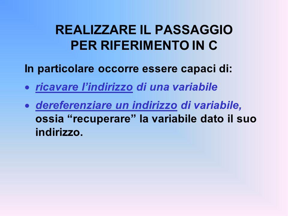 REALIZZARE IL PASSAGGIO PER RIFERIMENTO IN C In particolare occorre essere capaci di:  ricavare l'indirizzo di una variabile  dereferenziare un indirizzo di variabile, ossia recuperare la variabile dato il suo indirizzo.
