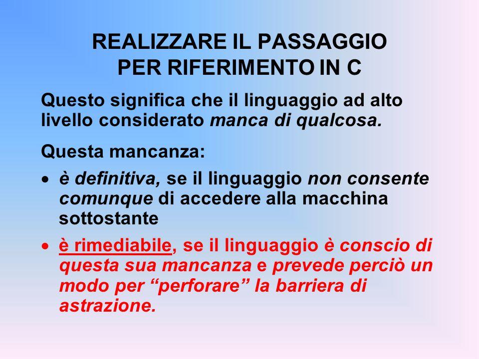 REALIZZARE IL PASSAGGIO PER RIFERIMENTO IN C Questo significa che il linguaggio ad alto livello considerato manca di qualcosa.