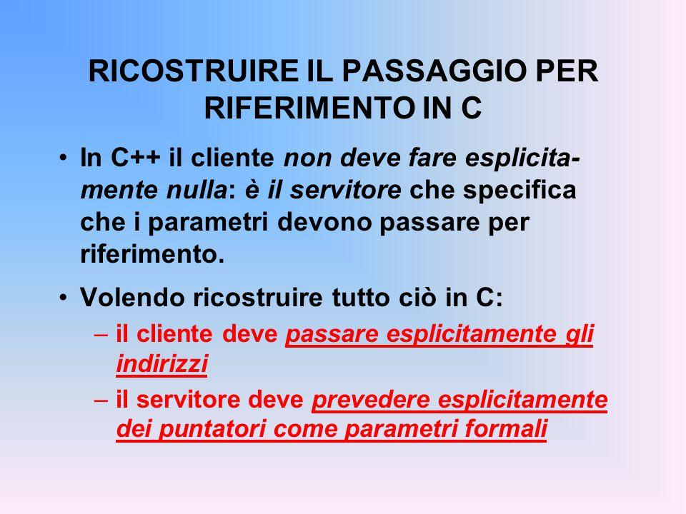 RICOSTRUIRE IL PASSAGGIO PER RIFERIMENTO IN C In C++ il cliente non deve fare esplicita- mente nulla: è il servitore che specifica che i parametri devono passare per riferimento.