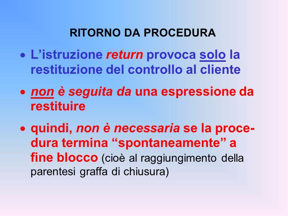 RITORNO DA PROCEDURA  L'istruzione return provoca solo la restituzione del controllo al cliente  non è seguita da una espressione da restituire  qu