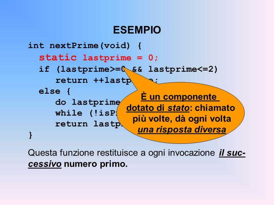 ESEMPIO int nextPrime(void) { static lastprime = 0; if (lastprime>=0 && lastprime<=2) return ++lastprime; else { do lastprime += 2; while (!isPrime(lastprime)); return lastprime; } } Questa funzione restituisce a ogni invocazione il suc- cessivo numero primo.
