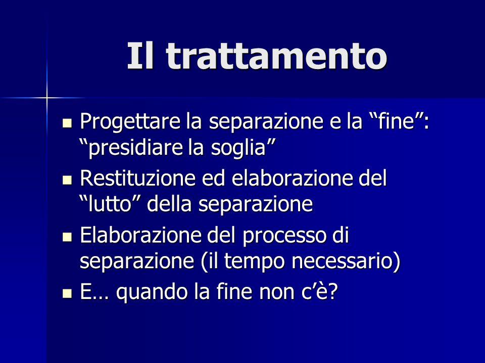 """Il trattamento Progettare la separazione e la """"fine"""": """"presidiare la soglia"""" Progettare la separazione e la """"fine"""": """"presidiare la soglia"""" Restituzion"""