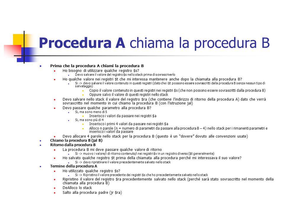 Procedura A chiama la procedura B Prima che la procedura A chiami la procedura B Ho bisogno di utilizzare qualche registro $s.
