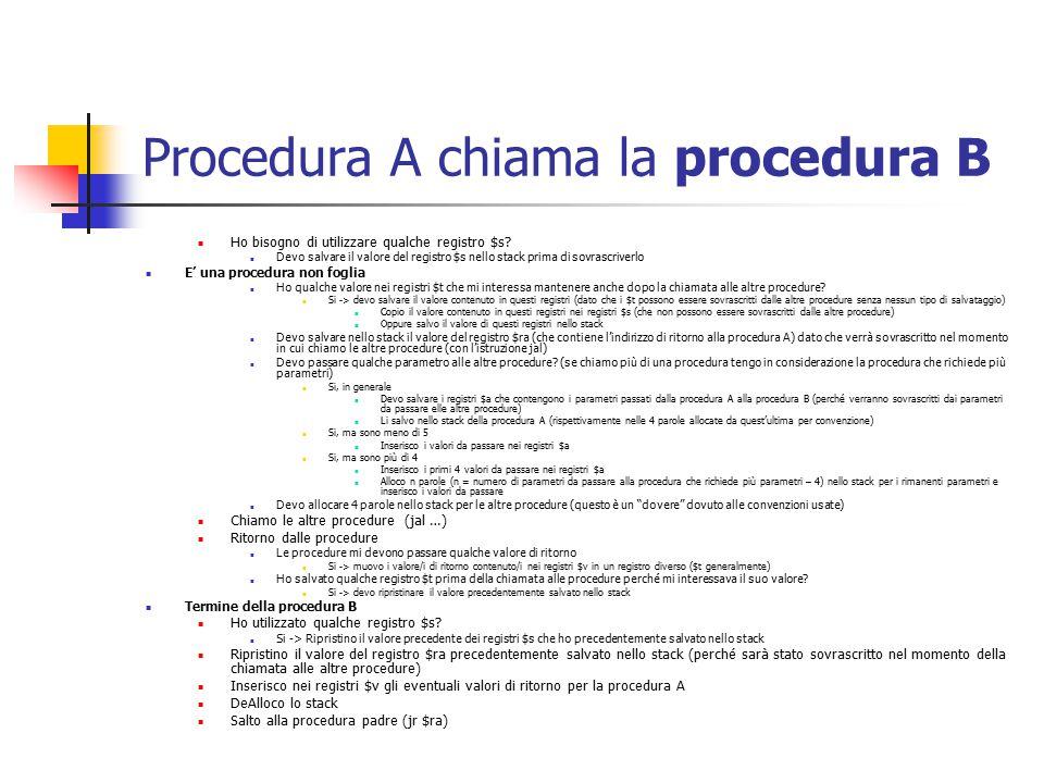 Procedura A chiama la procedura B Ho bisogno di utilizzare qualche registro $s.