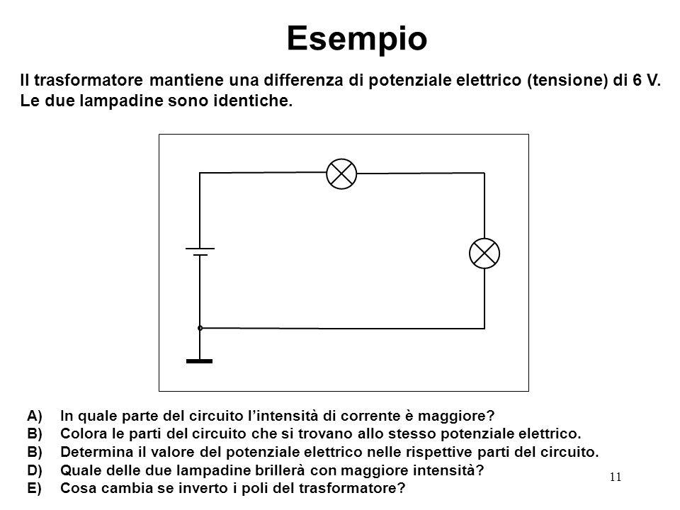 11 Esempio Il trasformatore mantiene una differenza di potenziale elettrico (tensione) di 6 V. Le due lampadine sono identiche. A) In quale parte del