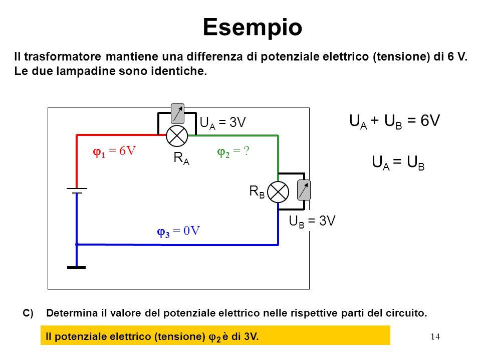 14  3 = 0V  1 = 6V  2 = ? Esempio Il trasformatore mantiene una differenza di potenziale elettrico (tensione) di 6 V. Le due lampadine sono identic