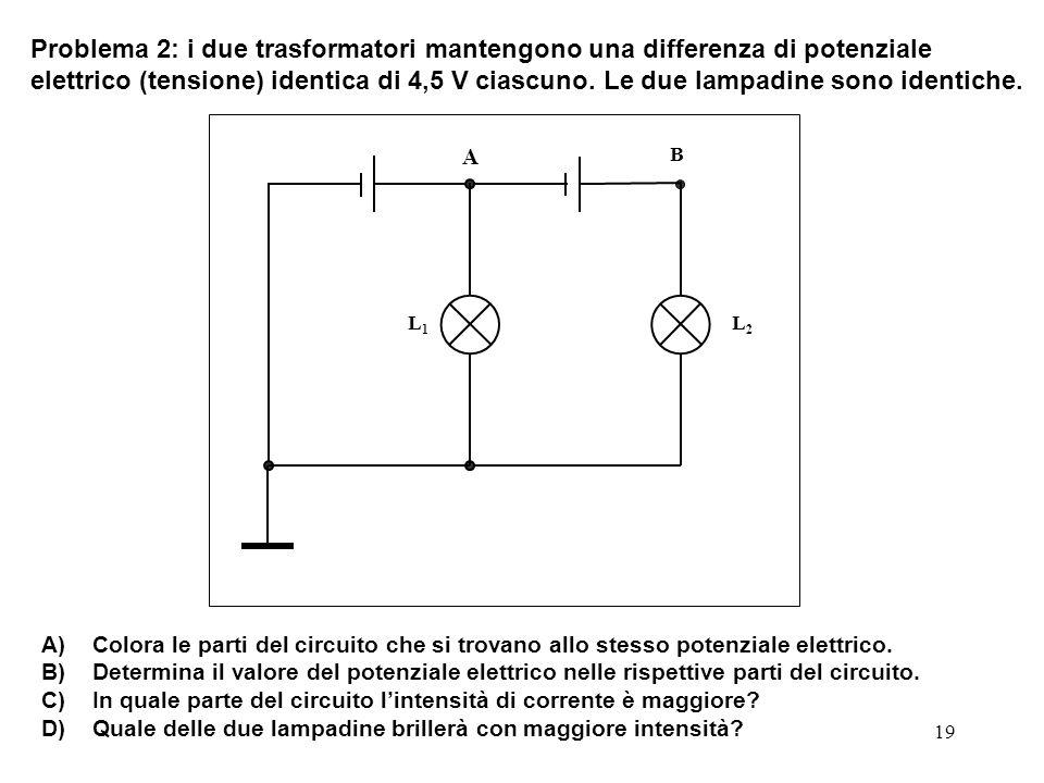 19 L1L1 L2L2 B A Problema 2: i due trasformatori mantengono una differenza di potenziale elettrico (tensione) identica di 4,5 V ciascuno. Le due lampa