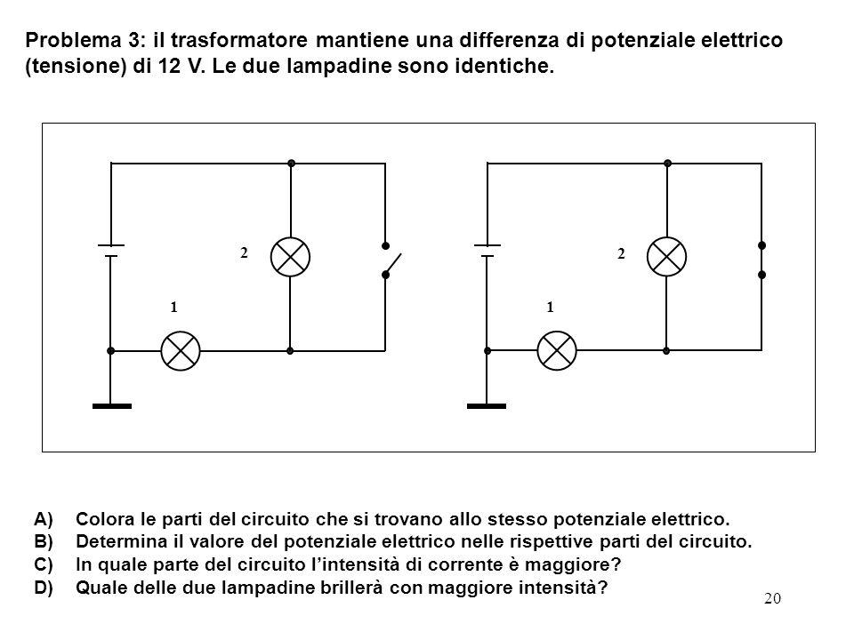20 Problema 3: il trasformatore mantiene una differenza di potenziale elettrico (tensione) di 12 V. Le due lampadine sono identiche. A) Colora le part