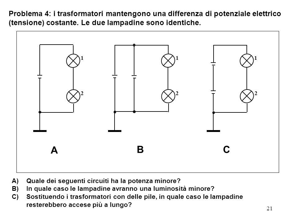 21 Problema 4: i trasformatori mantengono una differenza di potenziale elettrico (tensione) costante. Le due lampadine sono identiche. A)Quale dei seg