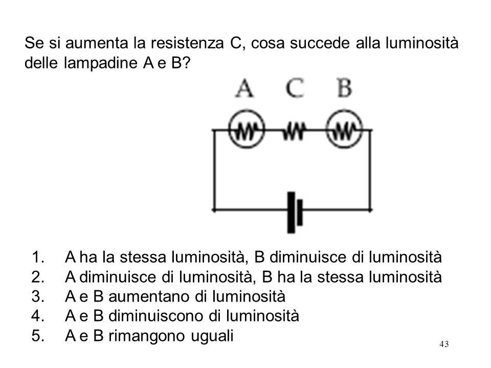 43 1. A ha la stessa luminosità, B diminuisce di luminosità 2. A diminuisce di luminosità, B ha la stessa luminosità 3.A e B aumentano di luminosità 4