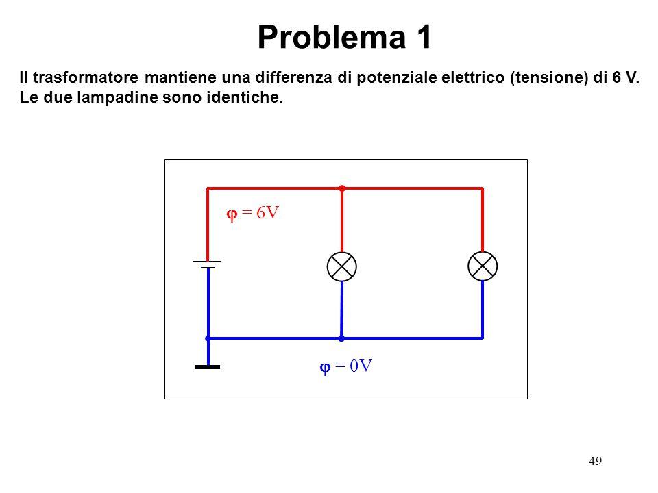 49  = 0V  = 6V Problema 1 Il trasformatore mantiene una differenza di potenziale elettrico (tensione) di 6 V. Le due lampadine sono identiche.